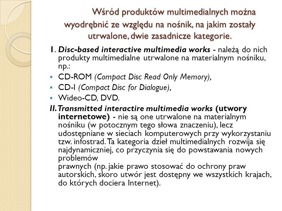 Wśród produktów multimedialnych można wyodrębnić ze względu na nośnik, na jakim zostały utrwalone, dwie zasadnicze kategorie. 1.Disc-based interactive