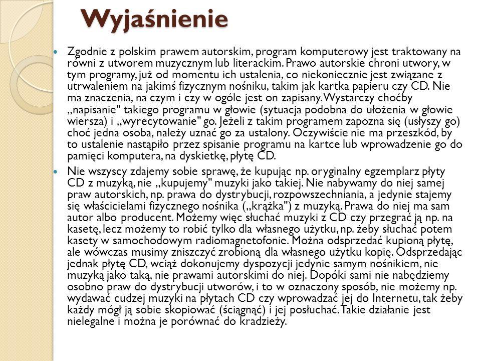 Wyjaśnienie Zgodnie z polskim prawem autorskim, program komputerowy jest traktowany na równi z utworem muzycznym lub literackim. Prawo autorskie chron