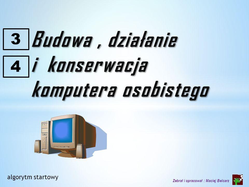 PC – personal computer 1981 Apple I + proste oprogramowanie : edytor tekstu i arkusz kalkulacyjny 1983 : IBM PC/XT : dawał możliwość rozbudowy (pamięć, karty itp.) Desktop (pulpit) Laptop (kolano) Netbook (ineternet) Palmtop (dłoń) Tablet (tabliczka) Pierwszy polski komputer powstał w 1958.