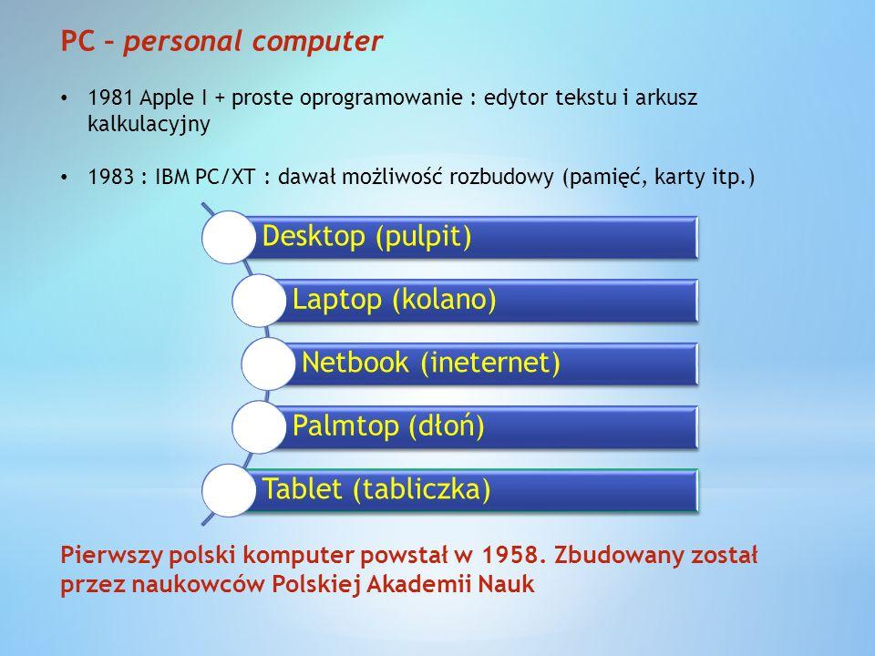 JEDNOSTKA CENTRALA Płyta głównaprocesorzasilacz HDD – dysk twardy CD ROMKarta graficznaKarta dźwiękowaKarta sieciowaRAM PŁYTA GŁÓWNA CHIPSETMAGISTRALABIOS GNIAZDA URZĄDZENIA ZEWNĘTRZNE MYSZ + KLAWITURA MONITORDRUKARKASKANERPROJEKTORKAMERA GŁOŚNIKI MIKROFON URZĄDZENIA SPECJALISTYCZNE Możliwa integracja z płytą gł.