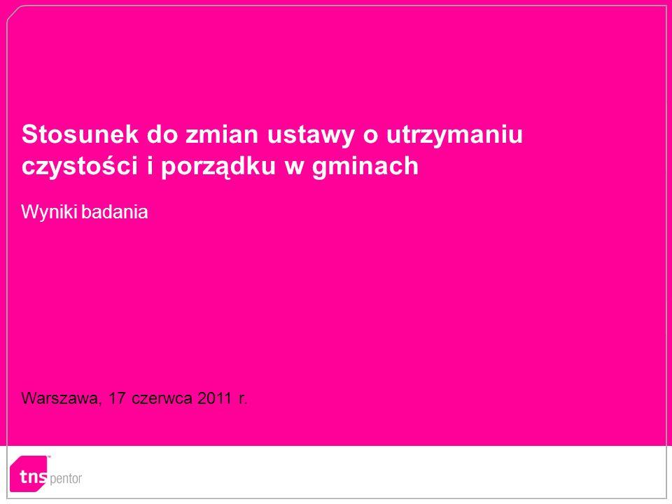 Stosunek do zmian ustawy o utrzymaniu czystości i porządku w gminach Warszawa, 17 czerwca 2011 r.