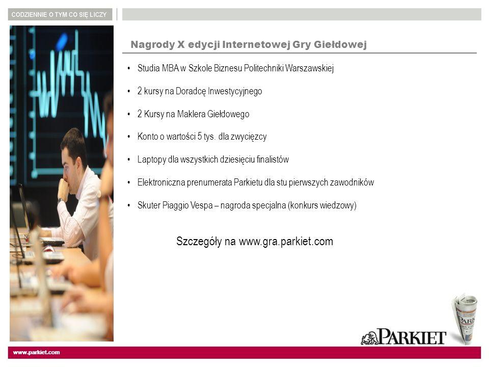 www.parkiet.com Nagrody X edycji Internetowej Gry Giełdowej Studia MBA w Szkole Biznesu Politechniki Warszawskiej 2 kursy na Doradcę Inwestycyjnego 2 Kursy na Maklera Giełdowego Konto o wartości 5 tys.