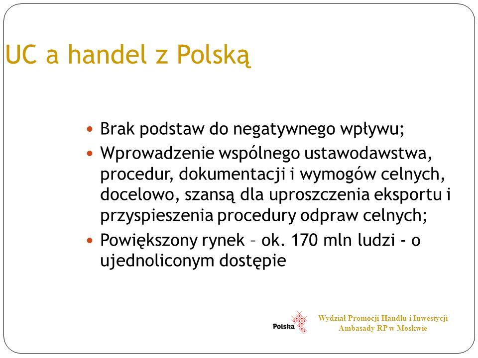 UC a handel z Polską Brak podstaw do negatywnego wpływu; Wprowadzenie wspólnego ustawodawstwa, procedur, dokumentacji i wymogów celnych, docelowo, sza