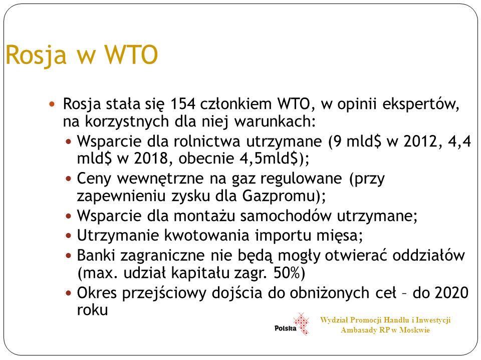 Rosja w WTO Rosja stała się 154 członkiem WTO, w opinii ekspertów, na korzystnych dla niej warunkach: Wsparcie dla rolnictwa utrzymane (9 mld$ w 2012,
