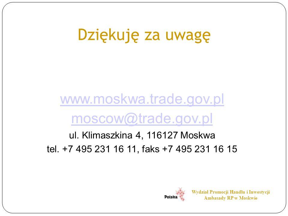 Dziękuję za uwagę www.moskwa.trade.gov.pl moscow@trade.gov.pl ul. Klimaszkina 4, 116127 Moskwa tel. +7 495 231 16 11, faks +7 495 231 16 15 Wydział Pr