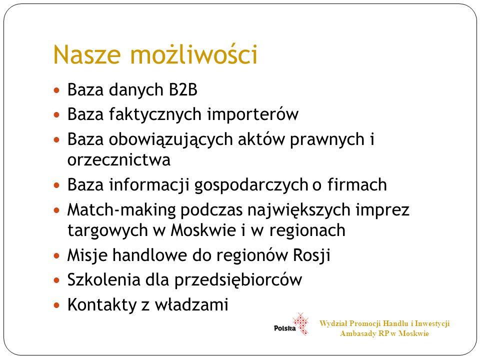 Nasze możliwości Baza danych B2B Baza faktycznych importerów Baza obowiązujących aktów prawnych i orzecznictwa Baza informacji gospodarczych o firmach