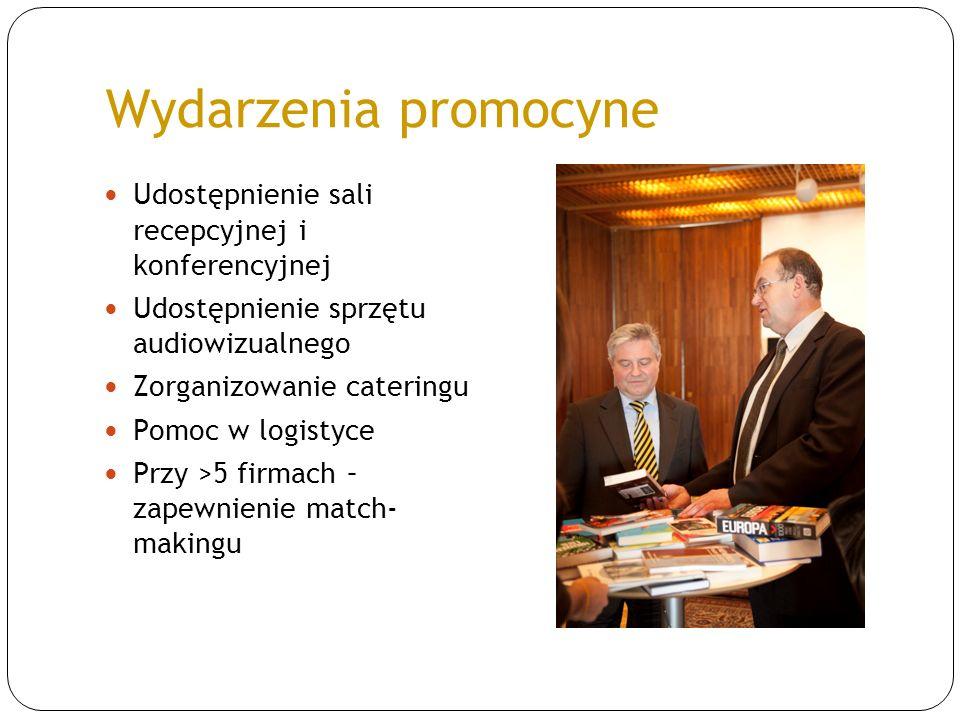 Wydarzenia promocyne Udostępnienie sali recepcyjnej i konferencyjnej Udostępnienie sprzętu audiowizualnego Zorganizowanie cateringu Pomoc w logistyce