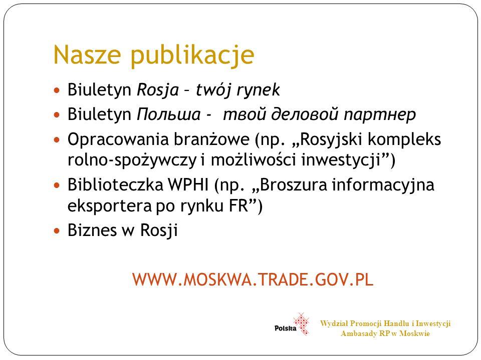 Nasze publikacje Biuletyn Rosja – twój rynek Biuletyn Польша - твой деловой партнер Opracowania branżowe (np. Rosyjski kompleks rolno-spożywczy i możl