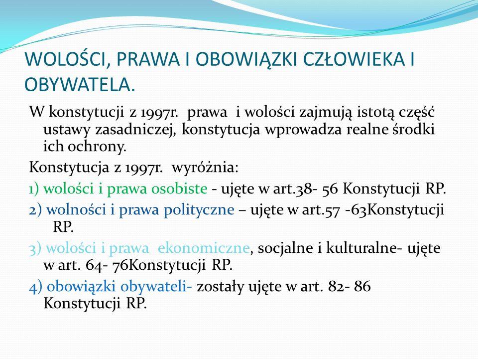 WOLOŚCI, PRAWA I OBOWIĄZKI CZŁOWIEKA I OBYWATELA.W konstytucji z 1997r.