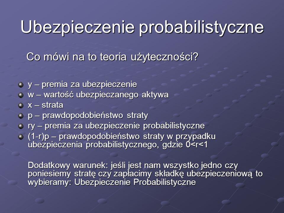 Ubezpieczenie probabilistyczne Co mówi na to teoria użyteczności.