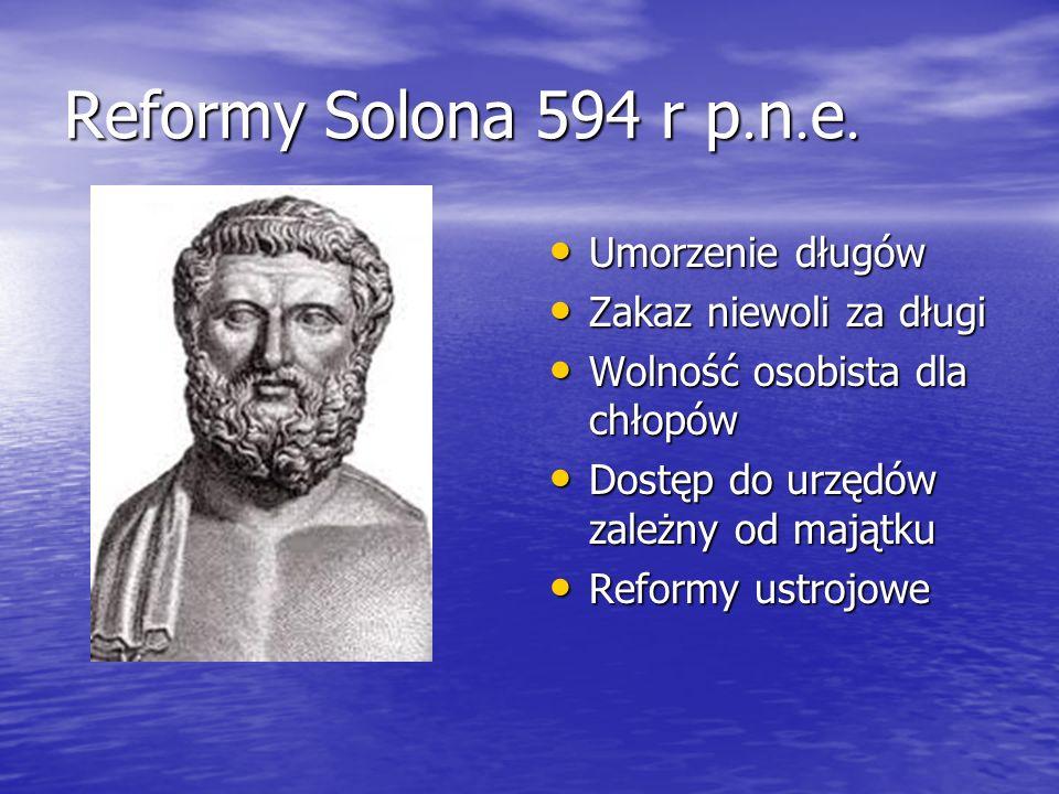 Reformy Solona 594 r p. n. e. Umorzenie długów Umorzenie długów Zakaz niewoli za długi Zakaz niewoli za długi Wolność osobista dla chłopów Wolność oso