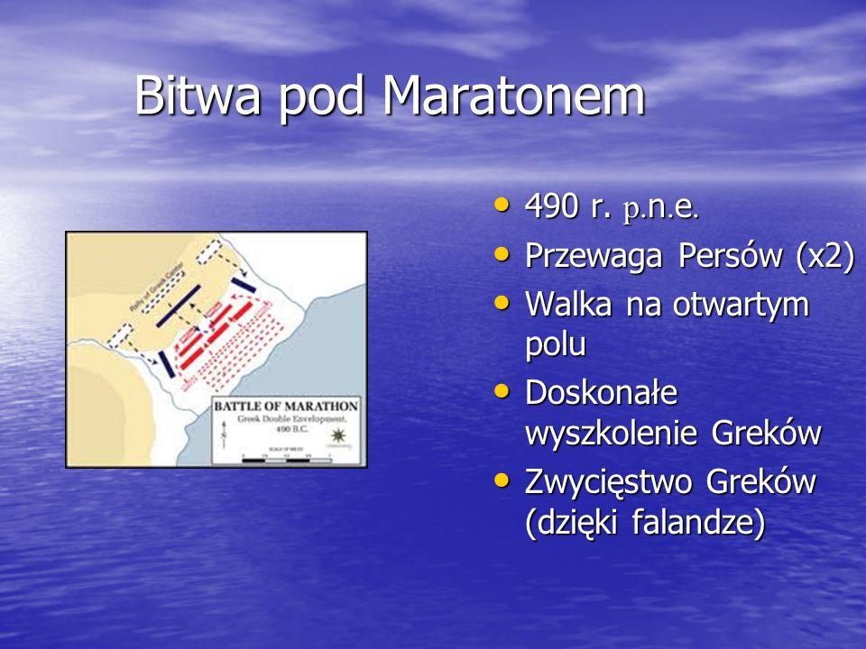 Bitwa pod Maratonem 490 r. p. n. e. 490 r. p. n. e. Przewaga Persów (x2) Przewaga Persów (x2) Walka na otwartym polu Walka na otwartym polu Doskonałe