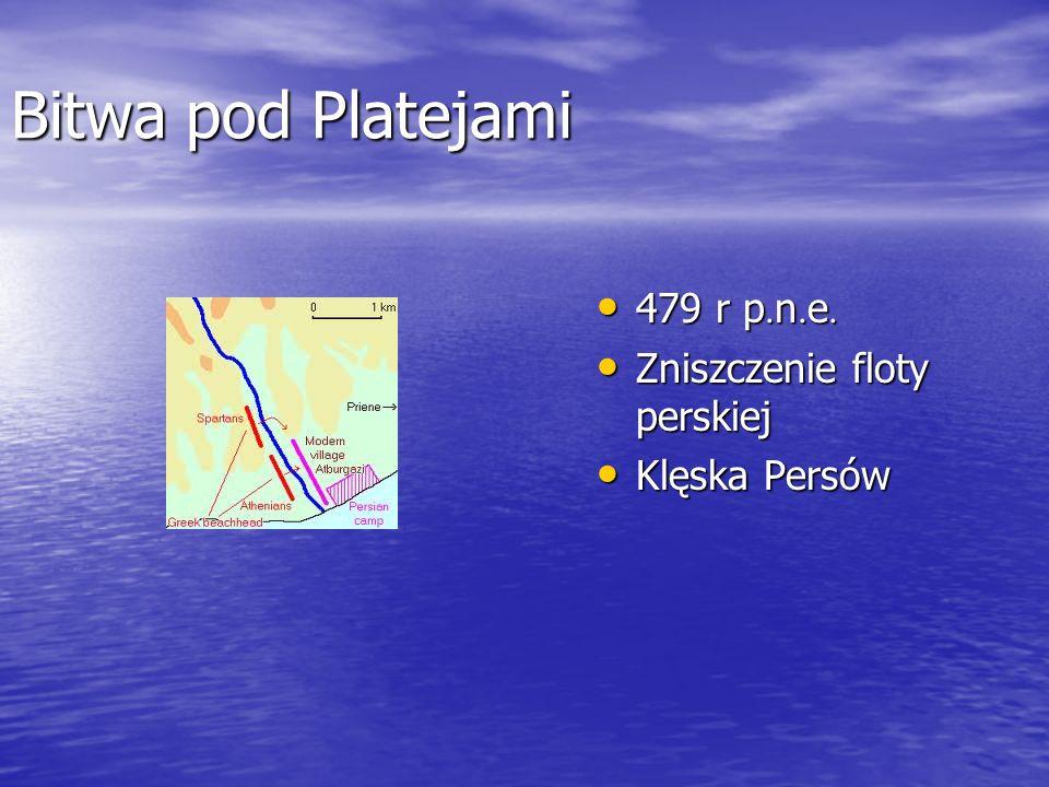 Bitwa pod Platejami 479 r p. n. e. 479 r p. n. e. Zniszczenie floty perskiej Zniszczenie floty perskiej Klęska Persów Klęska Persów