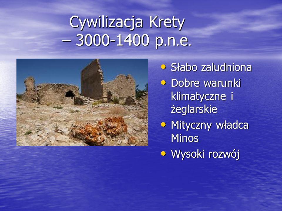 Cywilizacja Krety – 3000-1400 p. n. e. Słabo zaludniona Słabo zaludniona Dobre warunki klimatyczne i żeglarskie Dobre warunki klimatyczne i żeglarskie