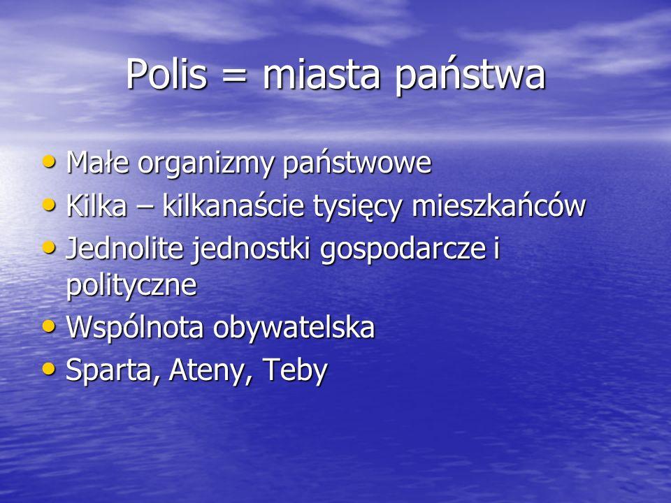 Polis = miasta państwa Małe organizmy państwowe Małe organizmy państwowe Kilka – kilkanaście tysięcy mieszkańców Kilka – kilkanaście tysięcy mieszkańc