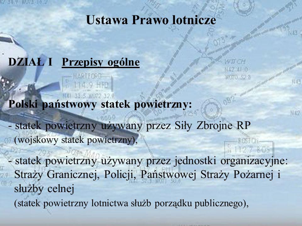 Dominik Punda Ustawa Prawo lotnicze DZIAŁ I Przepisy ogólne Polski państwowy statek powietrzny: - statek powietrzny używany przez Siły Zbrojne RP (woj
