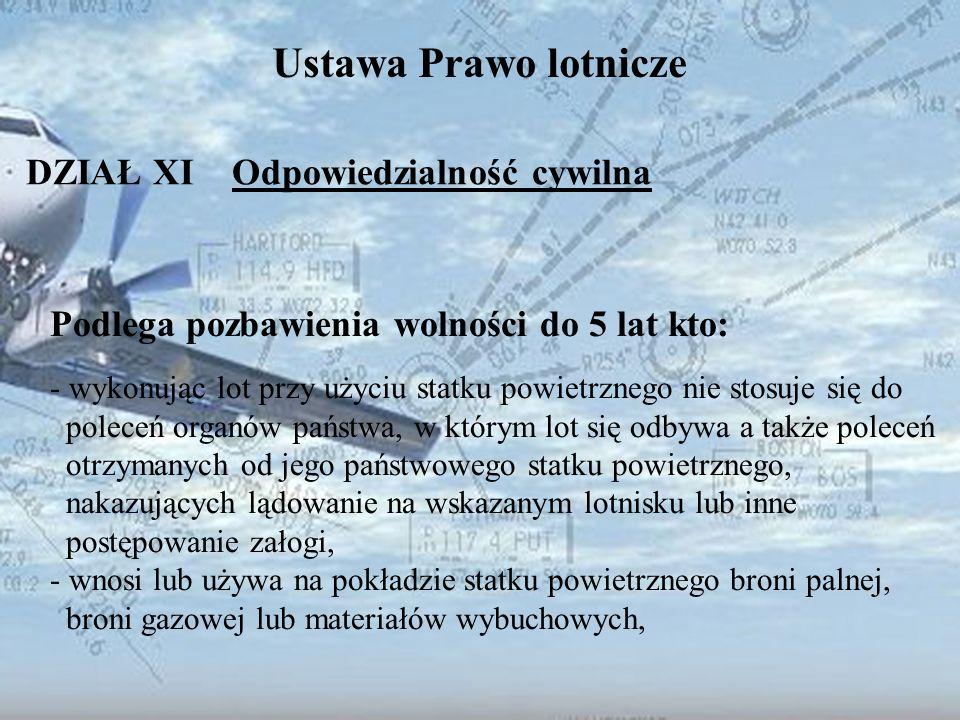 Dominik Punda Ustawa Prawo lotnicze DZIAŁ XI Odpowiedzialność cywilna Podlega pozbawienia wolności do 5 lat kto: - wykonując lot przy użyciu statku po
