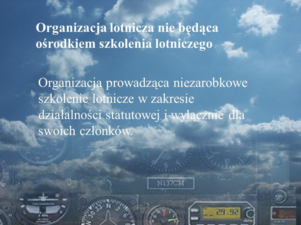 Dominik Punda Organizacja lotnicza nie będąca ośrodkiem szkolenia lotniczego Organizacja prowadząca niezarobkowe szkolenie lotnicze w zakresie działal
