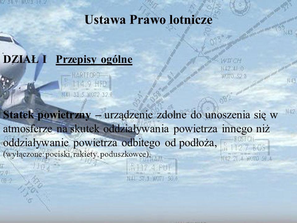 Dominik Punda Ustawa Prawo lotnicze DZIAŁ I Przepisy ogólne Statek powietrzny – urządzenie zdolne do unoszenia się w atmosferze na skutek oddziaływani