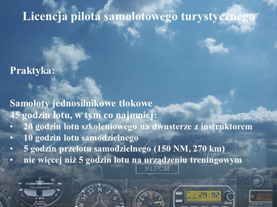 Dominik Punda Licencja pilota samolotowego turystycznego Praktyka: Samoloty jednosilnikowe tłokowe 45 godzin lotu, w tym co najmniej: 20 godzin lotu s
