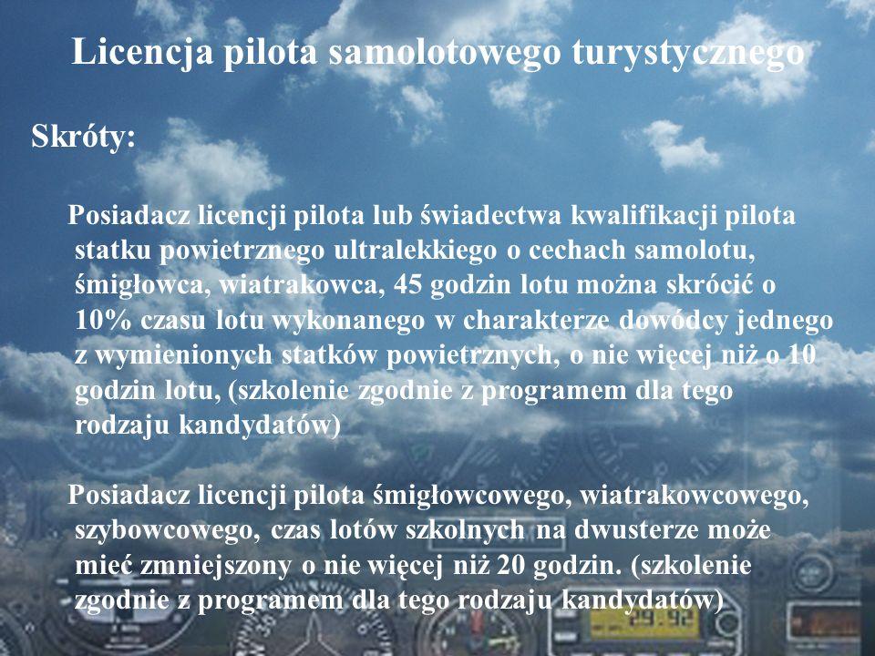 Dominik Punda Licencja pilota samolotowego turystycznego Skróty: Posiadacz licencji pilota lub świadectwa kwalifikacji pilota statku powietrznego ultr