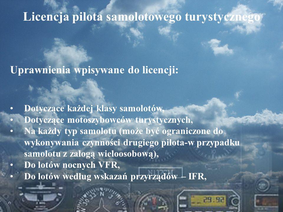 Dominik Punda Licencja pilota samolotowego turystycznego Uprawnienia wpisywane do licencji: Dotyczące każdej klasy samolotów, Dotyczące motoszybowców