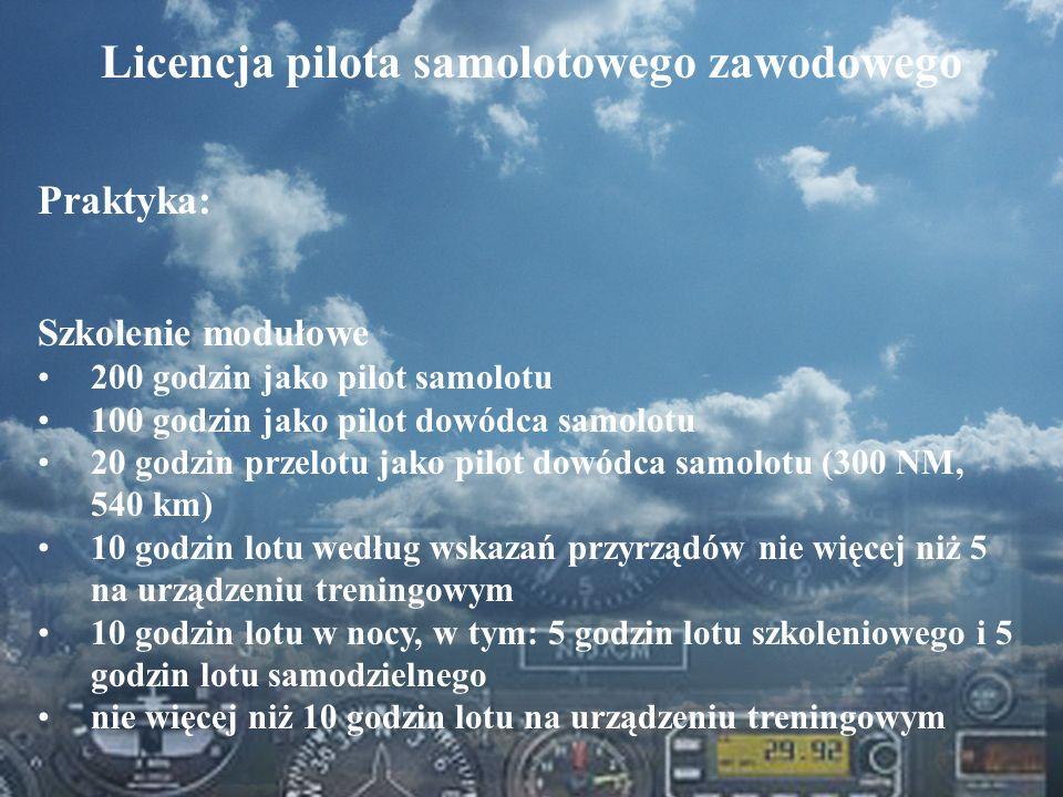 Dominik Punda Licencja pilota samolotowego zawodowego Praktyka: Szkolenie modułowe 200 godzin jako pilot samolotu 100 godzin jako pilot dowódca samolo