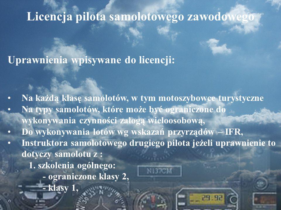Dominik Punda Licencja pilota samolotowego zawodowego Uprawnienia wpisywane do licencji: Na każdą klasę samolotów, w tym motoszybowce turystyczne Na t