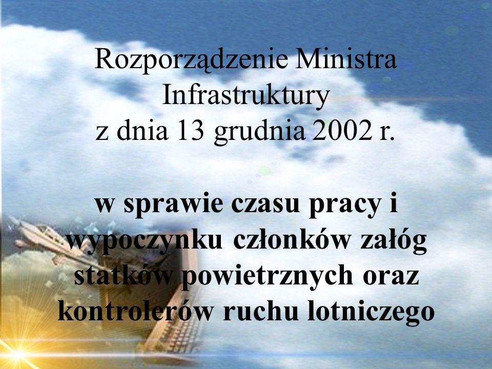 Dominik Punda Rozporządzenie Ministra Infrastruktury z dnia 13 grudnia 2002 r. w sprawie czasu pracy i wypoczynku członków załóg statków powietrznych