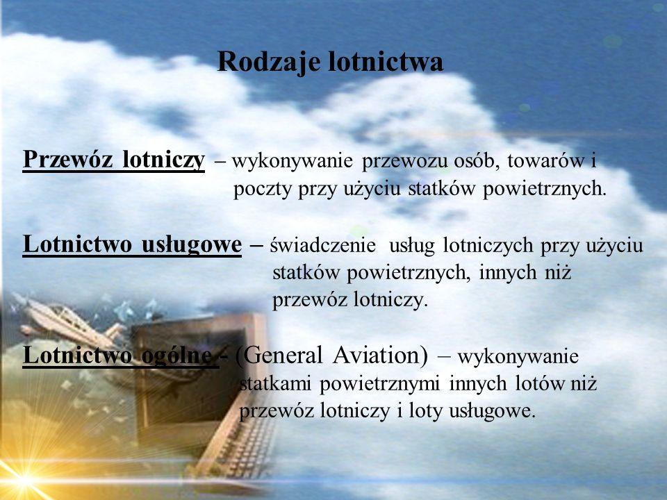 Dominik Punda Rodzaje lotnictwa Przewóz lotniczy – wykonywanie przewozu osób, towarów i poczty przy użyciu statków powietrznych. Lotnictwo usługowe –