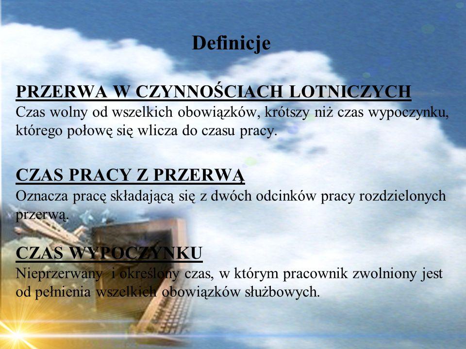 Dominik Punda Definicje PRZERWA W CZYNNOŚCIACH LOTNICZYCH Czas wolny od wszelkich obowiązków, krótszy niż czas wypoczynku, którego połowę się wlicza d