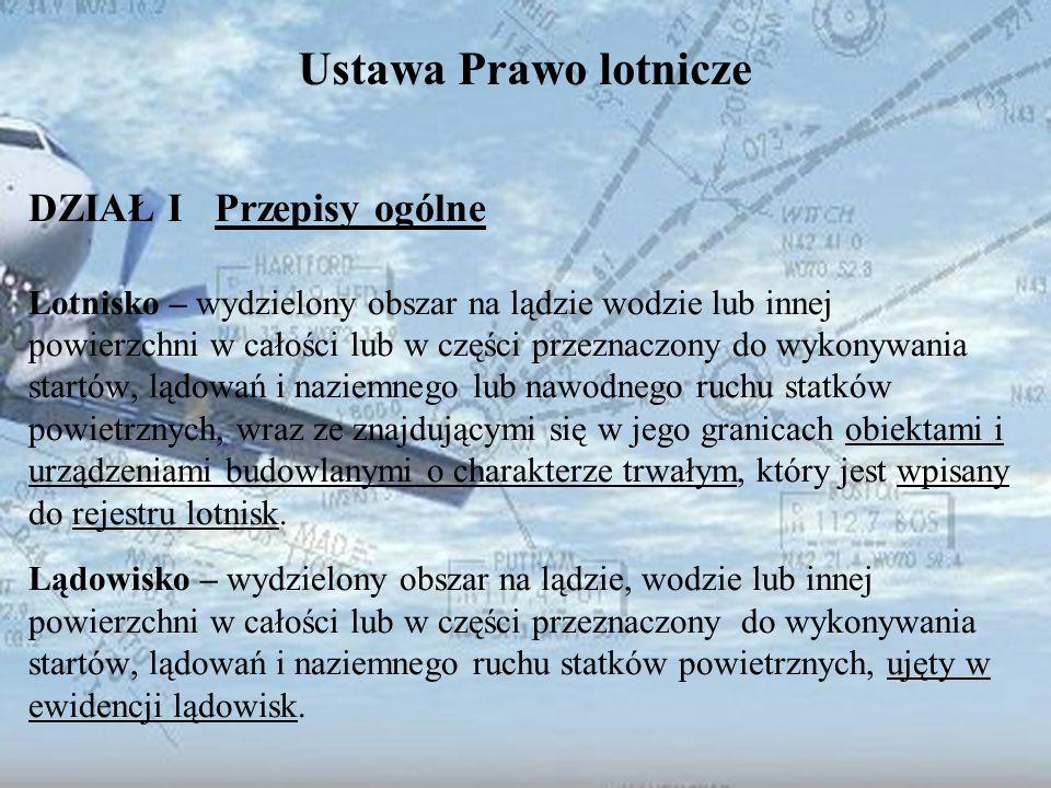 Dominik Punda Ustawa Prawo lotnicze DZIAŁ I Przepisy ogólne Lotnisko – wydzielony obszar na lądzie wodzie lub innej powierzchni w całości lub w części