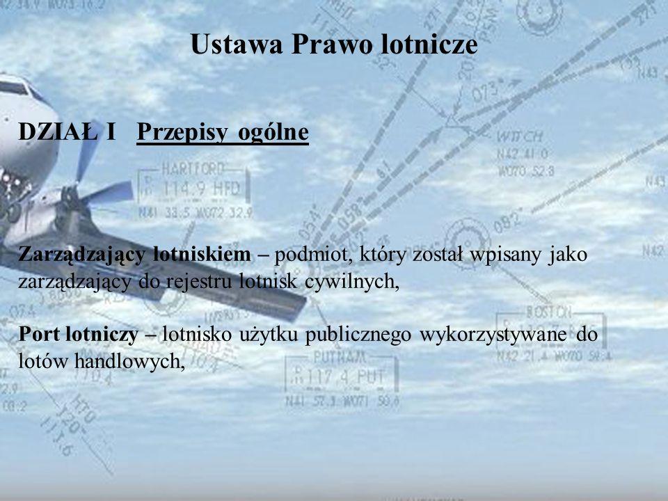 Dominik Punda Ustawa Prawo lotnicze DZIAŁ I Przepisy ogólne Zarządzający lotniskiem – podmiot, który został wpisany jako zarządzający do rejestru lotn