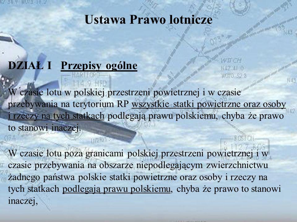 Dominik Punda Ustawa Prawo lotnicze DZIAŁ I Przepisy ogólne W czasie lotu w polskiej przestrzeni powietrznej i w czasie przebywania na terytorium RP w
