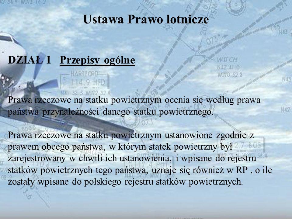Dominik Punda Ustawa Prawo lotnicze DZIAŁ I Przepisy ogólne Prawa rzeczowe na statku powietrznym ocenia się według prawa państwa przynależności danego