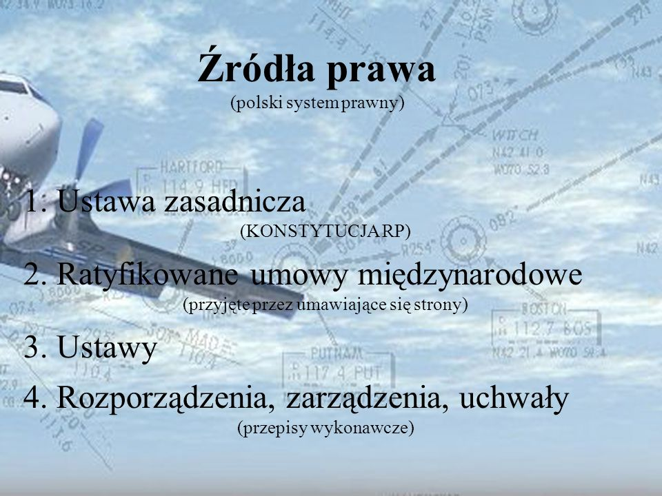 Dominik Punda Źródła prawa (polski system prawny) 1.Ustawa zasadnicza (KONSTYTUCJA RP) 2. Ratyfikowane umowy międzynarodowe (przyjęte przez umawiające