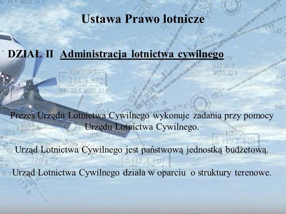 Dominik Punda Ustawa Prawo lotnicze DZIAŁ II Administracja lotnictwa cywilnego Prezes Urzędu Lotnictwa Cywilnego wykonuje zadania przy pomocy Urzędu L