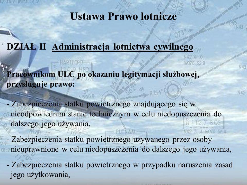 Dominik Punda Ustawa Prawo lotnicze DZIAŁ II Administracja lotnictwa cywilnego Pracownikom ULC po okazaniu legitymacji służbowej, przysługuje prawo: -