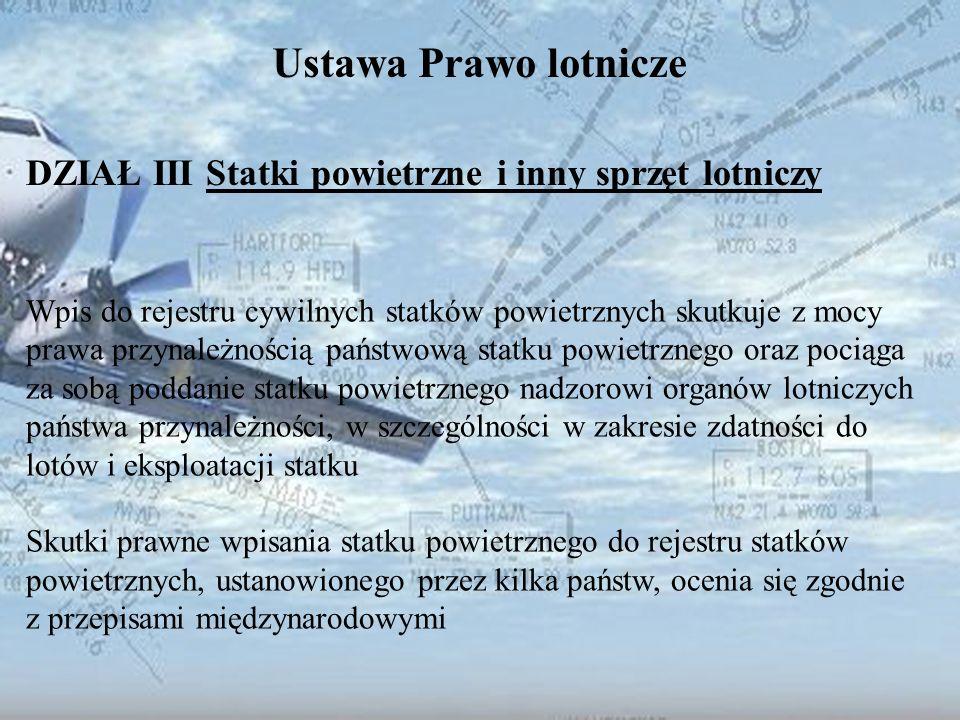 Dominik Punda Ustawa Prawo lotnicze DZIAŁ III Statki powietrzne i inny sprzęt lotniczy Wpis do rejestru cywilnych statków powietrznych skutkuje z mocy