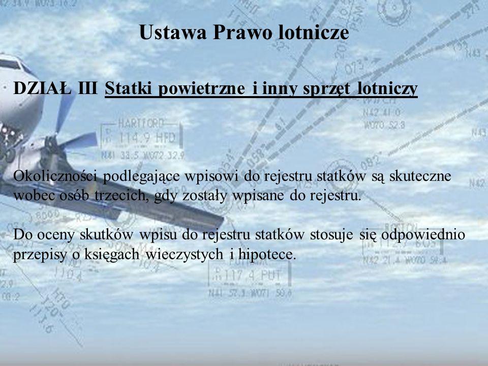 Dominik Punda Ustawa Prawo lotnicze DZIAŁ III Statki powietrzne i inny sprzęt lotniczy Okoliczności podlegające wpisowi do rejestru statków są skutecz