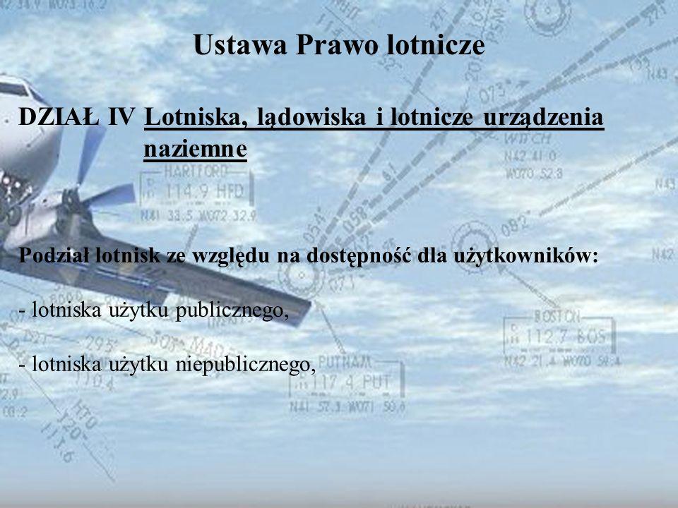Dominik Punda Ustawa Prawo lotnicze DZIAŁ IV Lotniska, lądowiska i lotnicze urządzenia naziemne Podział lotnisk ze względu na dostępność dla użytkowni