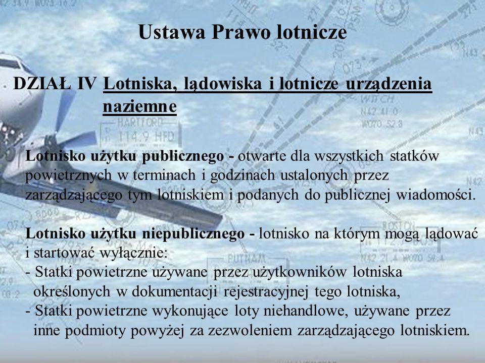 Dominik Punda Ustawa Prawo lotnicze DZIAŁ IV Lotniska, lądowiska i lotnicze urządzenia naziemne Lotnisko użytku publicznego - otwarte dla wszystkich s