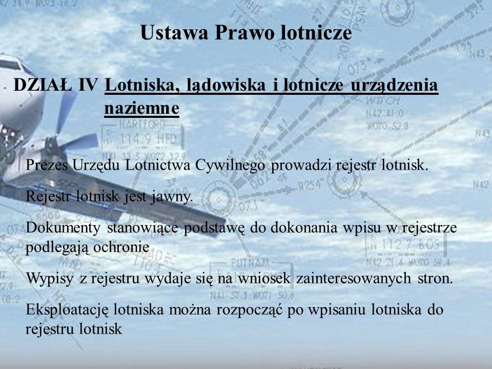 Dominik Punda Ustawa Prawo lotnicze DZIAŁ IV Lotniska, lądowiska i lotnicze urządzenia naziemne Prezes Urzędu Lotnictwa Cywilnego prowadzi rejestr lot