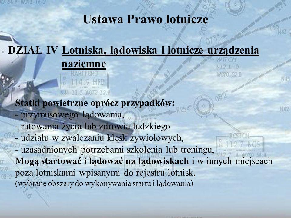Dominik Punda Ustawa Prawo lotnicze DZIAŁ IV Lotniska, lądowiska i lotnicze urządzenia naziemne Statki powietrzne oprócz przypadków: - przymusowego lą