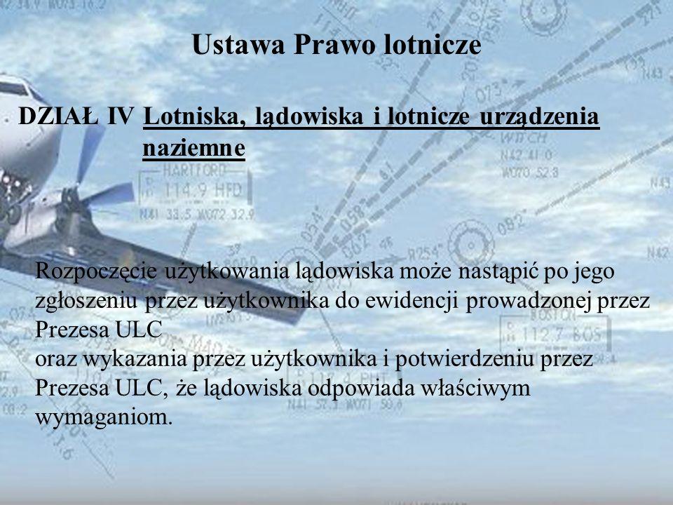 Dominik Punda Ustawa Prawo lotnicze DZIAŁ IV Lotniska, lądowiska i lotnicze urządzenia naziemne Rozpoczęcie użytkowania lądowiska może nastąpić po jeg