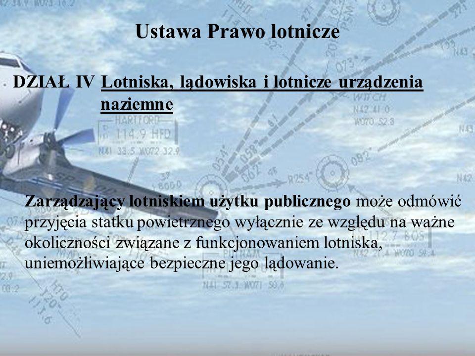 Dominik Punda Ustawa Prawo lotnicze DZIAŁ IV Lotniska, lądowiska i lotnicze urządzenia naziemne Zarządzający lotniskiem użytku publicznego może odmówi