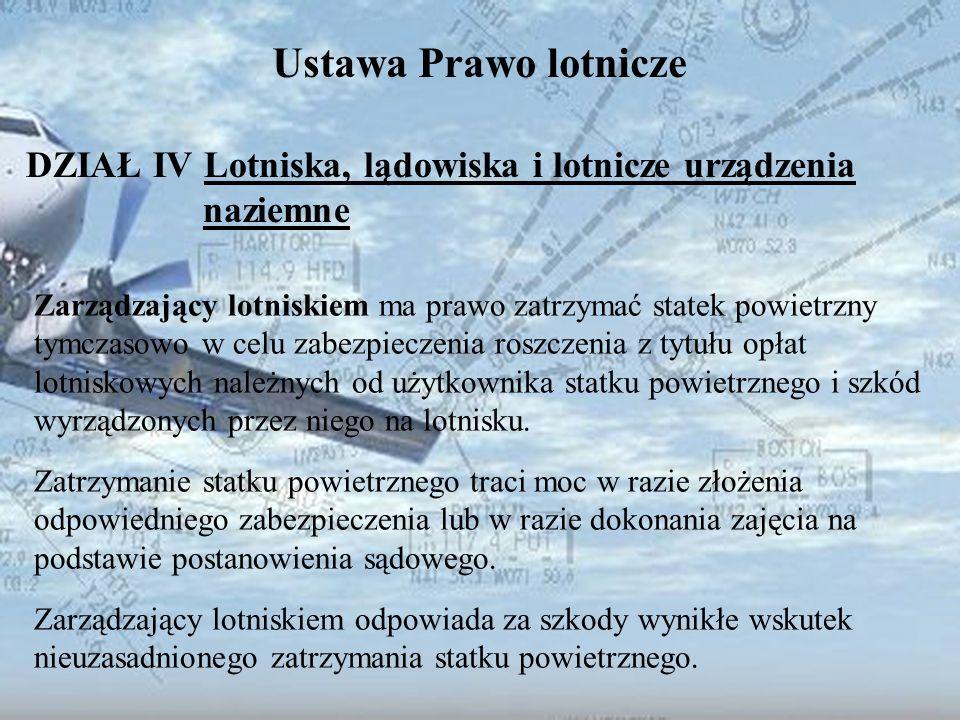 Dominik Punda Ustawa Prawo lotnicze DZIAŁ IV Lotniska, lądowiska i lotnicze urządzenia naziemne Zarządzający lotniskiem ma prawo zatrzymać statek powi