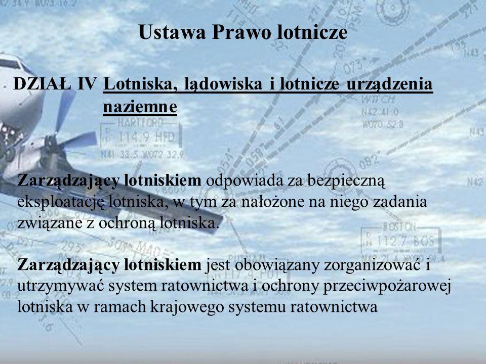 Dominik Punda Ustawa Prawo lotnicze DZIAŁ IV Lotniska, lądowiska i lotnicze urządzenia naziemne Zarządzający lotniskiem odpowiada za bezpieczną eksplo
