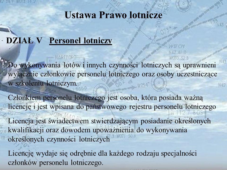 Dominik Punda Ustawa Prawo lotnicze DZIAŁ V Personel lotniczy Do wykonywania lotów i innych czynności lotniczych są uprawnieni wyłącznie członkowie pe