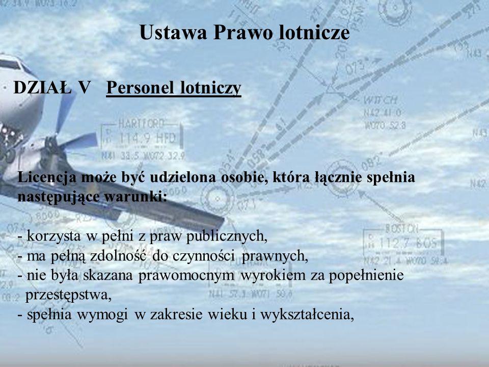 Dominik Punda Ustawa Prawo lotnicze DZIAŁ V Personel lotniczy Licencja może być udzielona osobie, która łącznie spełnia następujące warunki: - korzyst